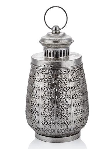 Cemile Antik Sılver Kapaklı Büyük Fener 18X18X33 Cm Gümüş
